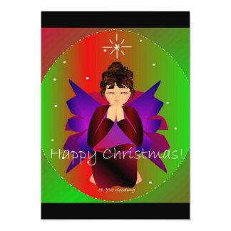 Lyckligt be för julängelflicka 12,7 x 17,8 cm inbjudningskort