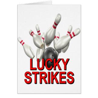 Lyckligt bowla för strejkor hälsningskort