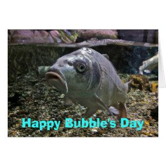 Lyckligt bubblas kort för dagfödelsedag med fisken