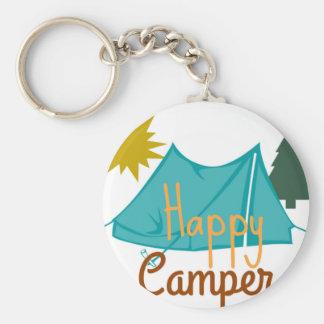 Lyckligt camparetält utomhus rund nyckelring