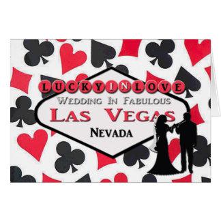 Lyckligt förälskat Las Vegas bröllopkort