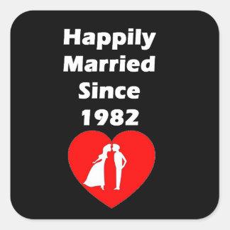 Lyckligt gift efter 1982 fyrkantigt klistermärke