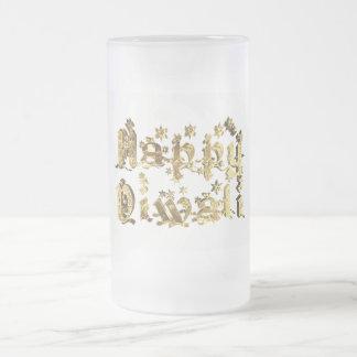 Lyckligt guld för Diwali dekorativt Frostat Ölglas