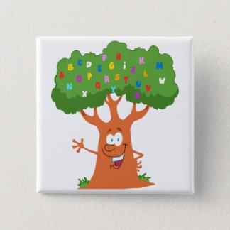 lyckligt gulligt träd för tecknadabc-alfabet standard kanpp fyrkantig 5.1 cm
