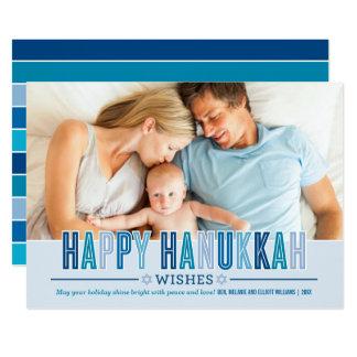 Lyckligt Hanukkah fotokort   skuggar av blått 12,7 X 17,8 Cm Inbjudningskort