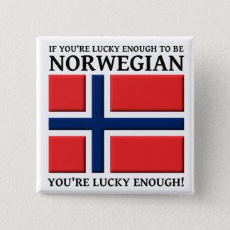 Lyckligt nog att vara norskt knäppas emblem standard kanpp fyrkantig 5.1 cm