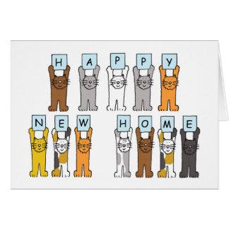 Lyckligt nytt hem för katter hälsningskort