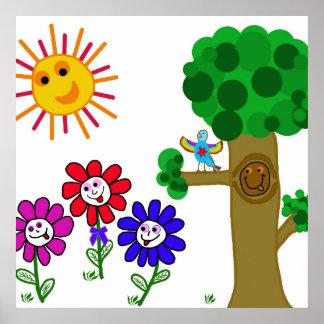 Lyckligträdgårdungar Poster