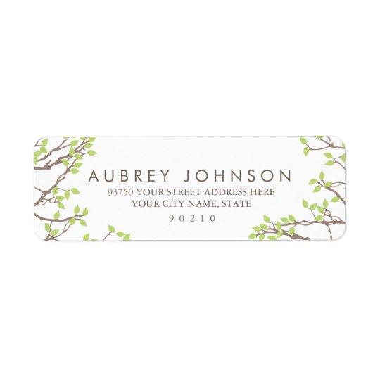 Lycksaligt gifta sig för grenar returadress etikett