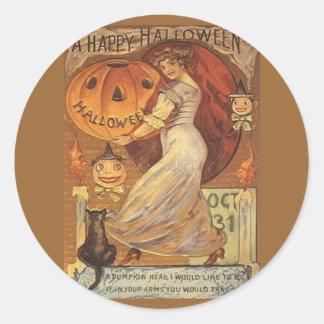 Lykta för o för för Halloween vintagekvinna och Runt Klistermärke