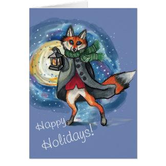 Lyktaräv i det Snow~holiday kortet OBS Kort