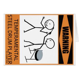 Lynnig varning stålsätter trummar spelare hälsningskort