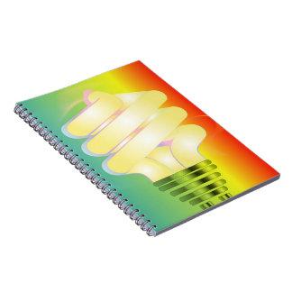 Lysande ljus kulaanteckningsbok anteckningsbok med spiral