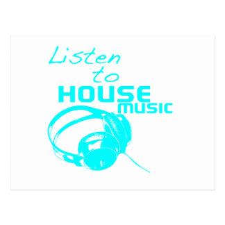 Lyssna till husmusik vykort