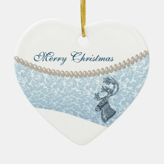 lyxig damastast ren för pärlajulhelgdag hjärtformad julgransprydnad i keramik