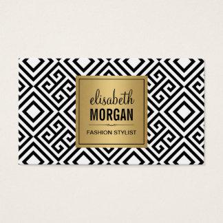 Lyxig guldsvart och abstrakt geometriskt mönster visitkort
