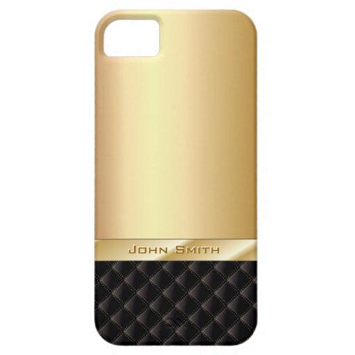 Lyxigt guld med fodral för anpassningsbarnamniPhon iPhone 5 Skydd