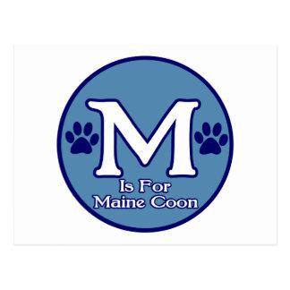 M är för den Maine coonen Vykort