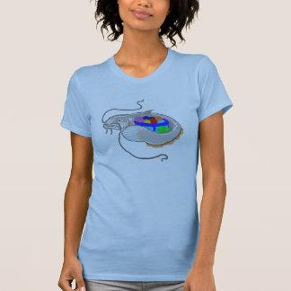 Mable havskatt och henne bunke av garn tee shirt