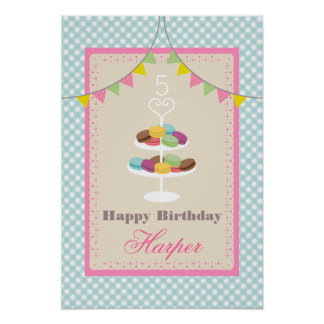 Macarons födelsedagaffisch - blåttGingham Poster