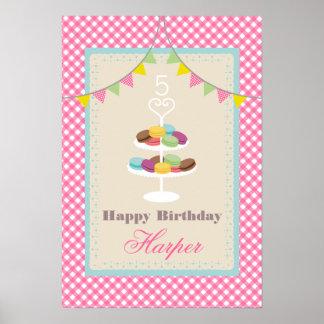 Macarons födelsedagaffisch - rosa Gingham Poster