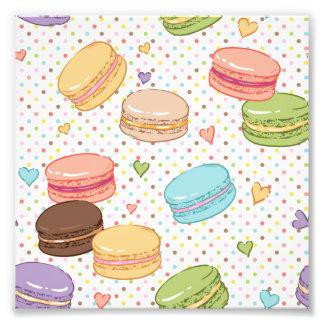 Macarons kakor, franska bakelser, mathipster, tren fototryck
