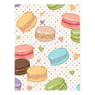Macarons kakor, franska bakelser, mathipster, vykort