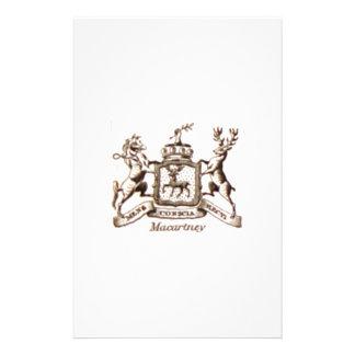Macartney familjvapensköld brevpapper