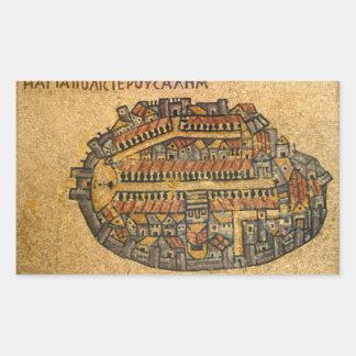 Madaba mosaisk karta av Jerusalem Rektangulärt Klistermärke