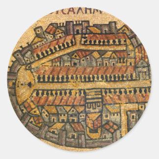 Madaba mosaisk karta av Jerusalem Runt Klistermärke