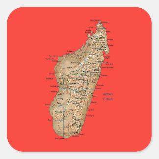 Madagascar kartaklistermärke fyrkantigt klistermärke