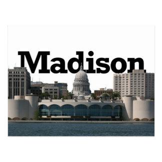 Madison Wisconsin horisont med Madison i himmlen Vykort