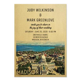 Madison Wisconsin som gifta sig inbjudanvintage 12,7 X 17,8 Cm Inbjudningskort