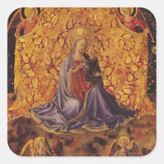 Madonna av ödmjukhet med Kristusbarnet och änglar Fyrkantigt Klistermärke