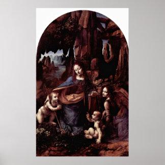 Madonna av stenarna av Leonardo Da Vinci Poster