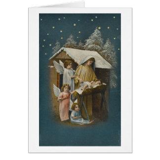 Madonna, barn Jesus och ängeljulkort Hälsningskort