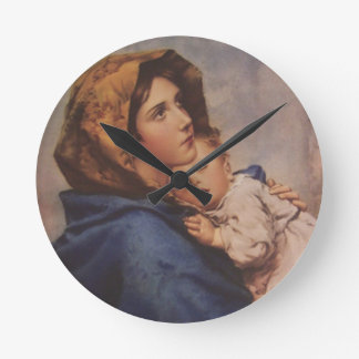 Madonna jungfrulig mor Mary med att sova Jesus Rund Klocka