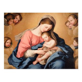 Madonna med barnet och änglar vykort