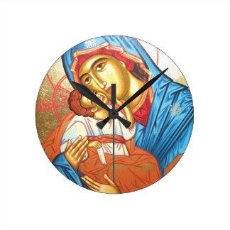 Madonna med guld för symbol för Jesus Byzantine Rund Klocka