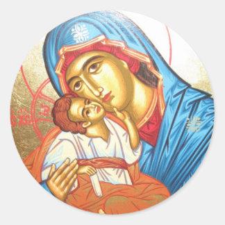 Madonna med guld för symbol för Jesus Byzantine Runt Klistermärke