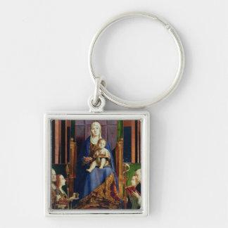 Madonna med Sanktt Nicholas av Bari Fyrkantig Silverfärgad Nyckelring
