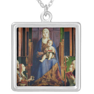 Madonna med Sanktt Nicholas av Bari Silverpläterat Halsband