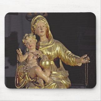 Madonna och barn, 17th århundrade (förgyllt trä) musmatta
