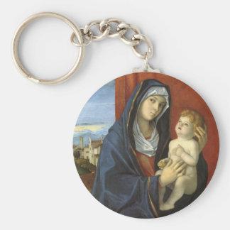 Madonna och barn av Giovanni Bellini Rund Nyckelring