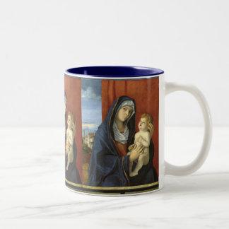 Madonna och barn av Giovanni Bellini Två-Tonad Mugg