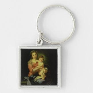 Madonna och barn, efter 1638 fyrkantig silverfärgad nyckelring