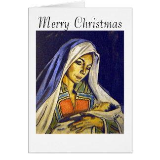 Madonna och barn, god jul hälsningskort