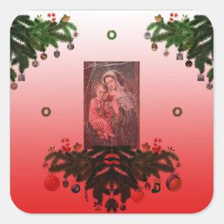 Madonna och barn [julen] fyrkantigt klistermärke