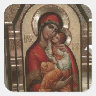 Madonna och barn; Jungfruliga Mary Fyrkantigt Klistermärke