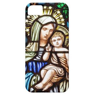 Madonna och barn - målat glassfönster iPhone 5 fodraler
